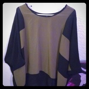 Army green and black blouse
